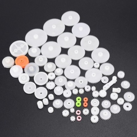 Kit De 64 Engranajes Plasticos Poleas Piñones Arduino